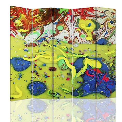 Feeby - Raumteiler - Trennwände – Foto Paravent – Spanische Wand - Bedruckt aufLeinwand – Trennwand – Deko Design – Paravent beidseitig - 5 teilig - 360° - 180x150 cm - Color Abstract Blue Green Red