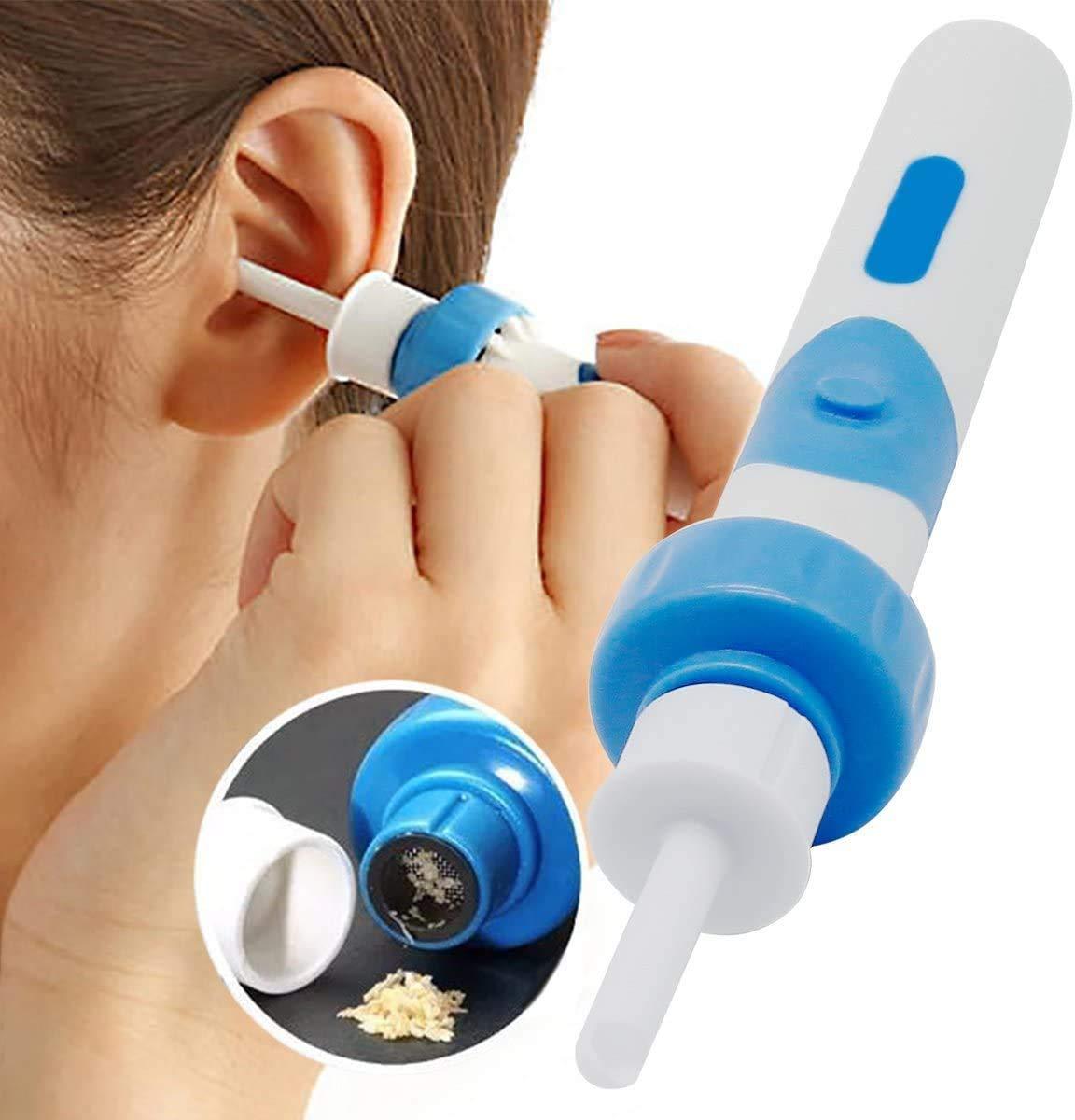 KOLP Ohrenreiniger Ear Wax Cleaner Ohr Schmalz Reiniger mit 2 entfernbaren Silikon Aufsatzen Elektro Ohrwachs Entfernungs Tool Kit F/ür Babys Und Erwachsene