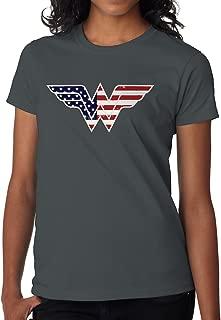 BBT Womens American Flag in Wonder Woman Logo Tee
