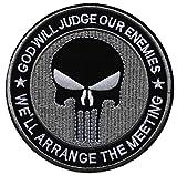 ecusson Punisher USA Noir Tete de Mort Skull Crane Moto Seal Special Force Biker thermocollant 10,5cm patche Insigne Biker