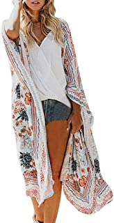 TOTOD Women's Sheer Chiffon Floral Kimono Cardigan Bohemian Beach Swimwear Cover Ups Swimsuit Loose Tops Outwear