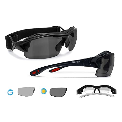 08a92a51ad Bertoni Prescription Sport Sunglasses – 3 Antifog Lenses - Sport Goggles  with Optical Clip for Pescription