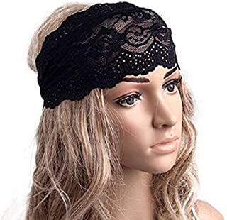 1PC Black Elastic Fashion Hairband Headwear Nonslip Hair Band Sport Yoga Lace Wide Headband Turban Bohemian Headscarf Wrap Hair Accessories For Women Girls