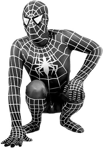 PIAOL Spiderhomme Collants Cosplay HalFaibleeen Set Accessoires De Film Fantaisie pour Enfants Adultes,noir 120