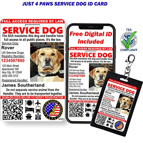 Just 4 Paws Custom Holographic QR Code Service Dog ID Card with Registration to U S Service Dogs Registry Plus ID Holder & Electronic Digital ID - Portrait Style