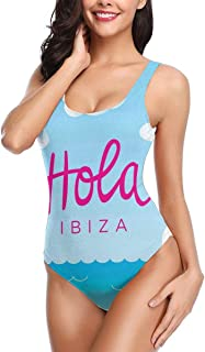 Women One Piece Swimsuit Swimwear,Hola Ibiza Lettering Calligraphy Wind Boats On The Ocean with Seagulls