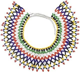 African Zulu Beaded Necklace Tribal Choker Colorful Acrylic Indian Ethnic Bib Collar …