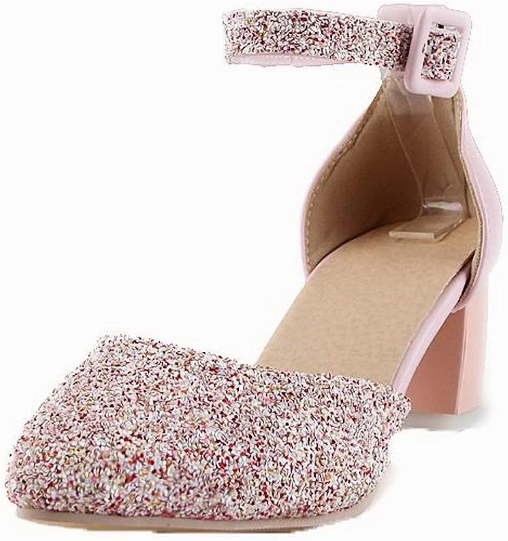 AmoonyFashion Women's Buckle Closed-Toe Kitten-Heels Solid Sandals