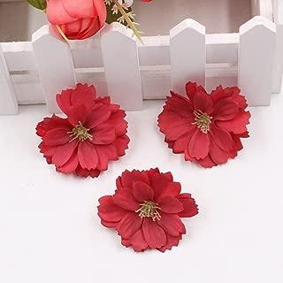 Artificial Flower 50pcs Mini Silk Plum Blossom Wedding Decoration DIY Wreath Clip Clip Accessories Handmade Craft Flower Head (red)