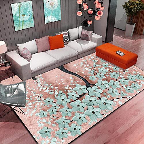 Xiaosua House Rosa Alfombra Sala de Estar Flor Abstracta Patrón Rosa Alfombra Suave Antideslizante Alfombra Silla Gaming 60X90CM alfombras en Rollo 1ft 11.6''X2ft 11.4''