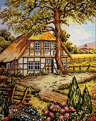 Kits de punto de cruz para adultos Kit de bordado de tapiz Conjunto de bordado de medio punto de paisaje alem¨¢n.