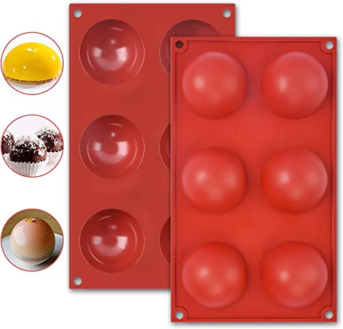 new arrival Molovee Silicone Molds for Hot wholesale Chocolate Bombs, Coco Bomb discount Silicone Molds 6 Cavity 2 Pack (Big Brick Red) outlet online sale