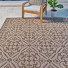 Gertmenian Neptune Outdoor Rug Classic Luxury Patio Carpet, 8' x 10' Large, Allover Floral Chestnut Tan