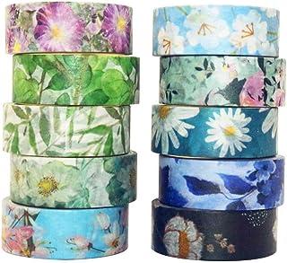 YUBX Fleur Washi Tape Ruban Adhésif Papier Décoratif Masking Tape pour Scrapbooking Artisanat de Bricolage (Cold Tone)