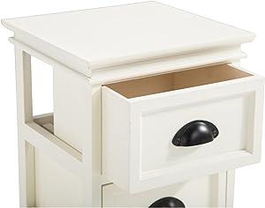 IDIMEX Table de Chevet LANDHAUS Table de Nuit 3 tiroirs en Bois de Paulownia Style Shabby Chic Vintage Classique Blanc