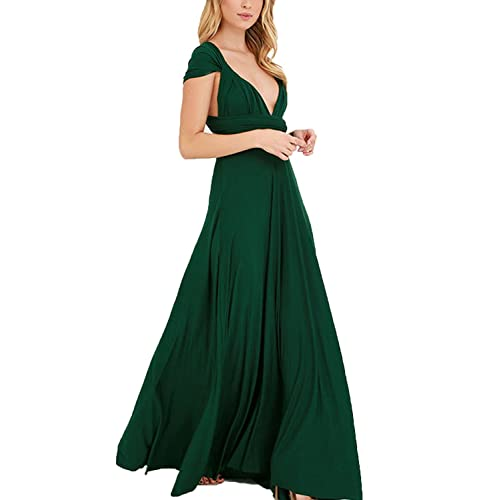 dca931e4d5 Clothink Women s Convertible Wrap Multi Way Party Long Maxi Dress