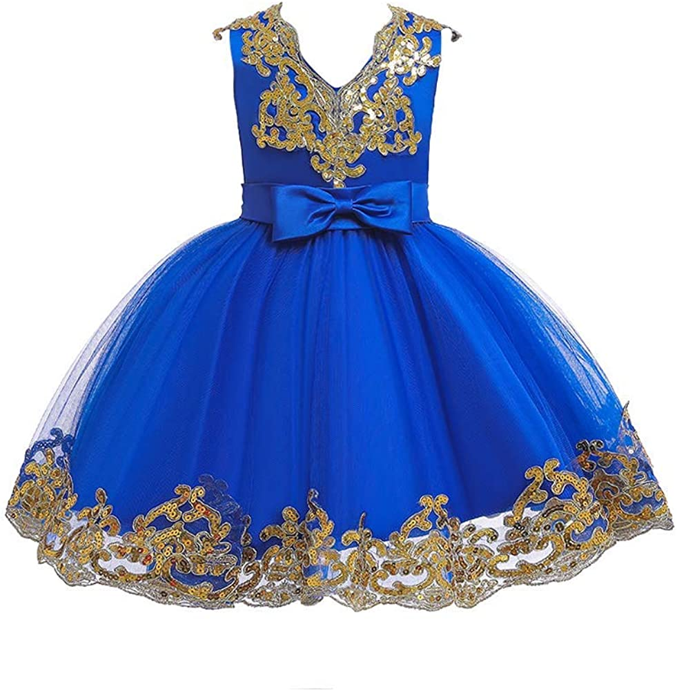 IMEKIS Flower Girl Dress Sequin Bowknot Tutu Gowns Princess Wedding Bridesmaid Birthday Formal Pageant Dresses for Kid 6M-11T