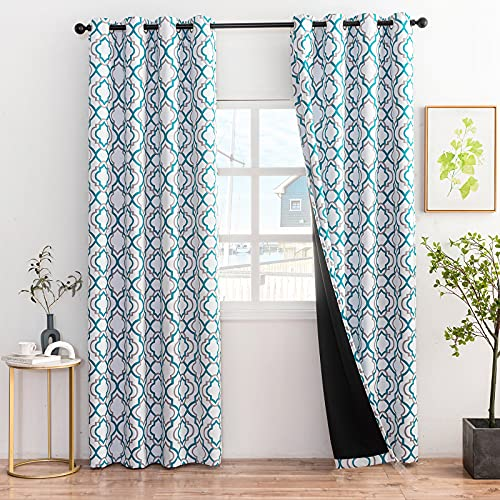 Bedroom Curtains 96 Inch Long 2 Panels, Coolplus Teal Curtains & Drapes for Bedroom Living Room, Full Blackout Window Curtains with Grommet Top, Thermal Insulated - 52'x96', 2 Panel