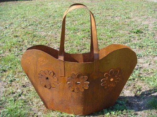 HKT Home Deco Tasche Metall Rost Pflanztasche Gartendeko Beetdeko Windlicht Pflanzschale Blumentopf Übertopf Edelrost 50cm