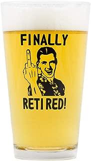 Funny Retirement Gift - Finally Retired - Middle Finger - Novelty Beer Glass