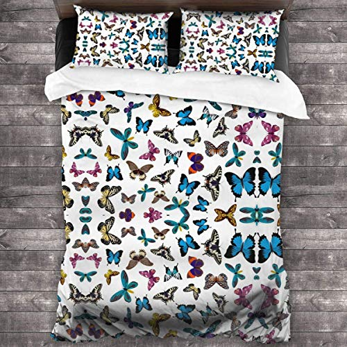 Royal Legacy Colorful Butterflies Pattern Comforter 3 Pcs Bedding Sets Quilt Cover Pillowcase 86 X70 Inches