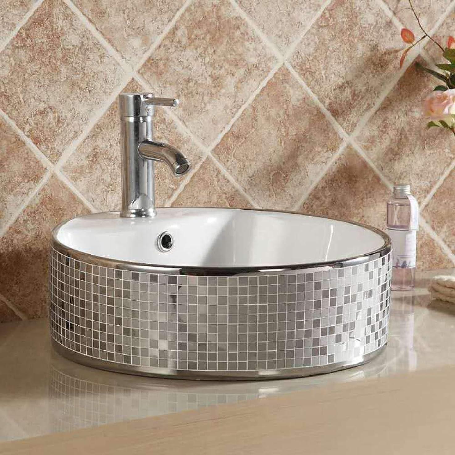 熟達現れる折ZKS-KS ロイヤル磁器ヨーロッパの家庭用洗面台セラミックシルバーとゴールドの芸術セラミック洗面バスルームのシンク