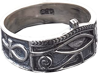 CaliRoseJewelry Sterling Silver Eye of Horus Ankh Ring with Antique Finish