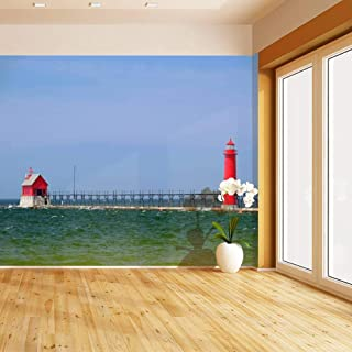 HIMURAL Grand Haven South Pierhead Inner Light, Built in 1905 Self Adhesive Peel and Stick Wallpaper Self Stick Mural Photos Home Wall Paper Sticker Wall Mural Decals Fresco Posters Removable