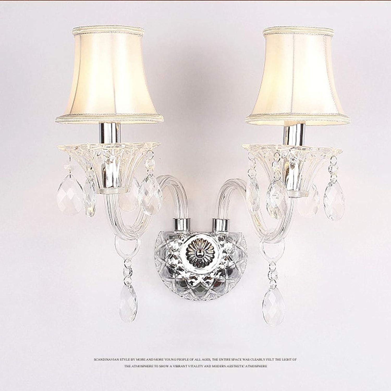 SACYSAC Wandleuchte Doppelkristall Wandleuchte Schlafzimmer Nachttischlampe Wohnzimmer Dekoration Lampe Ganglampe,B
