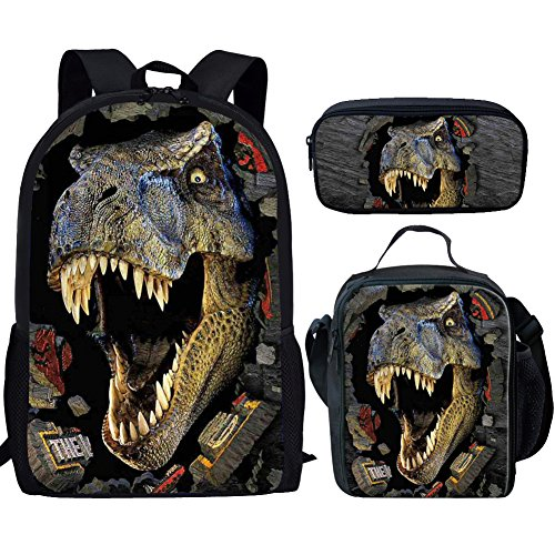 Showudesigns Cool Dinosaur Children Backpack Set with Schoolbag Lunch Bag Pencil Case Trex Backpack