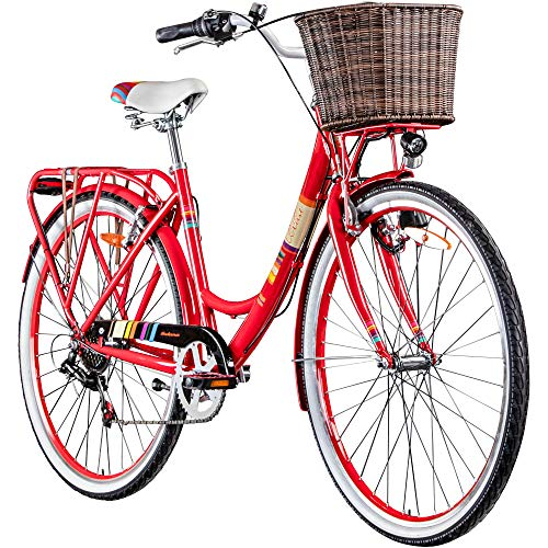 Galano Bella 700c Damenrad 28 Zoll Hollandrad Stadtrad Fahrrad Citybike Damenfahrrad 6 Gang (rot, 48 cm)