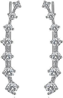 7 Crystal Ear Cuffs Hoops Climber Earring Sterling Silver Earrings Hypoallergenic Earring
