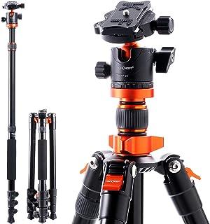 一眼レフ 三脚 K&F Concept カメラ三脚 軽量 アルミ合金製 コンパクト 一脚可変 自由雲台 デジタルカメラ 一眼レフ用 クイックシュー式 レバーロック式 25mmパイプ径 収納専用ケース付き 折り畳み可能 オレンジ S254