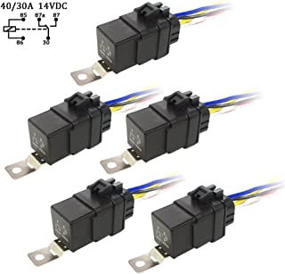 Waterproof Relay Switch Harness Set , Baird Stone 5 Pack 40/30AMP Automotive Wire Relays 12 AWG Hot Wires DC 12V Heavy Duty Car Relays with Interlocking Socket Holder Block