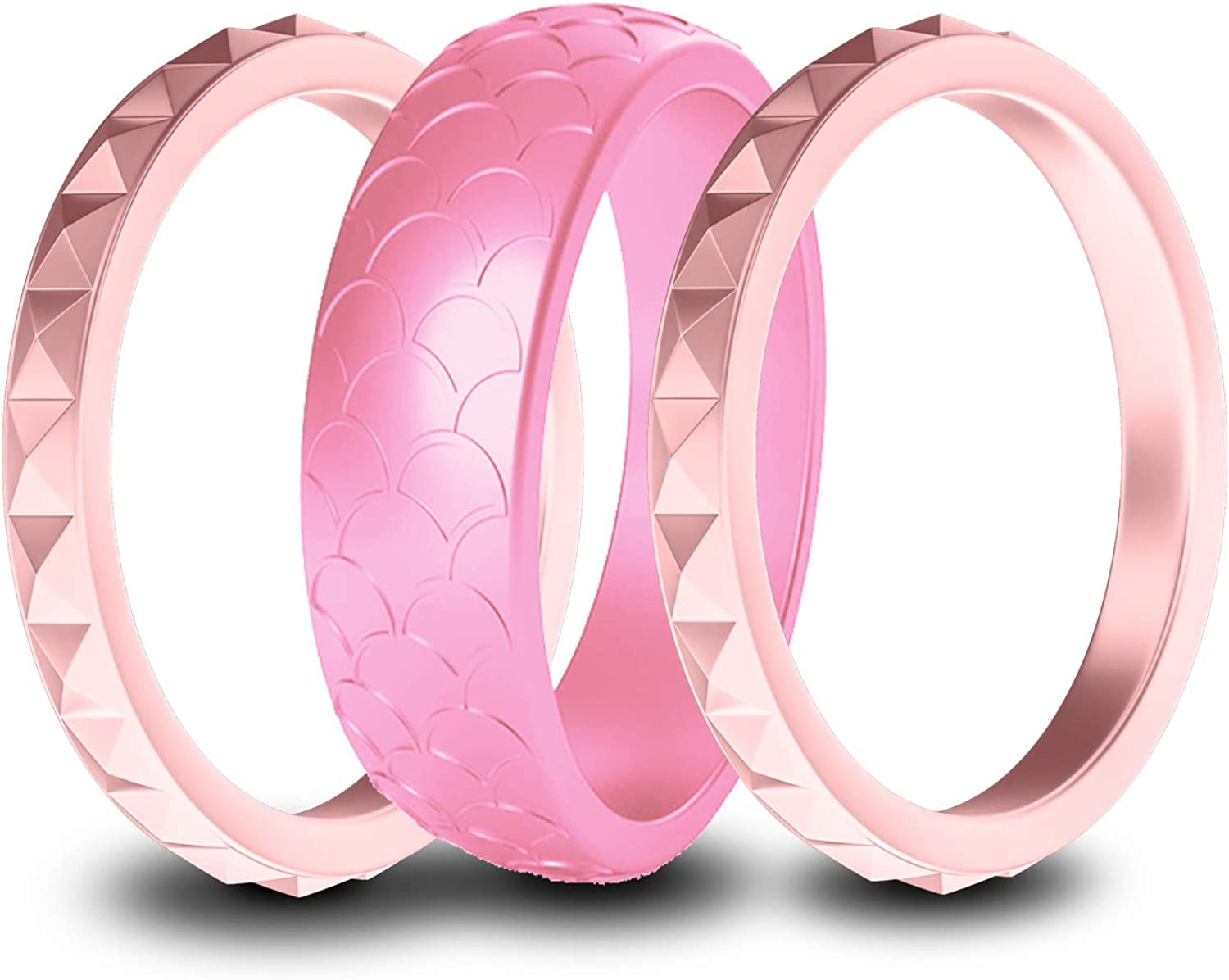 Scaly Design Comfortable and Skin Safe Breathable Rubber Ring Bands for Women Size 4-10 Moonthia Womens Thin and Stackable Silicone Rings Wedding Bands