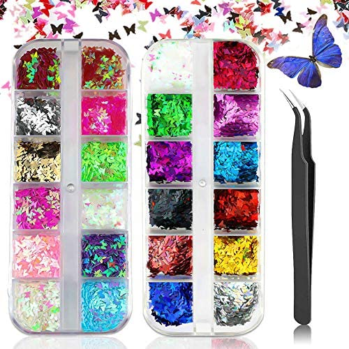 24 Color Butterfly Nail Glitter Sequins 3D Acrylic Nail Stickers Mixed Paillettes Holographic product image