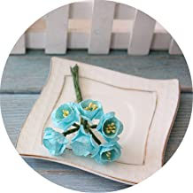 10 Pieces of Mulberry Paper Plum Wedding Sunflower Flower Fake Flower,Aqua Blue