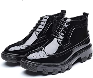 2018 New Arrival Men Boots Men's Casual Fashion Business and Ankle Boots Non-Slip Thick Patent Leather Brogue Formal Shoes
