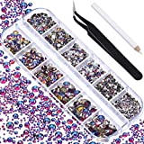TecUnite 2000 Pieces Flat Back Gems Round Crystal Rhinestones 6 Sizes (1.5-6 mm) with Pick Up Tweezer and Rhinestones Picking Pen for Crafts Nail Face Art Clothes Shoes Bags DIY (Blue Flame)