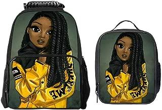 School Backpack Black Art African American Girl Afro Girls Backpack For Boys Girls Elementary School Bookbags Kids Custom School Bag with Lunch Tote Bag