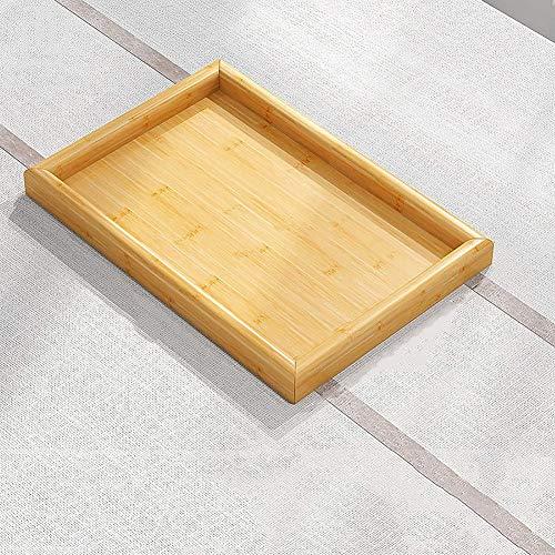 ZGYZ Bandeja Rectangular de Madera para Comer,Bandeja de café,Bandeja de bambú para Bebidas,Plato para desayunar y Servir Boda,Rectangular 33x24x2,3cm