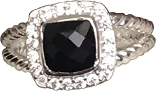 Designer Inspired Silver 7mm Petite Black Onyx Ring with Simulated Diamonds Size 6 7 8 9 10 New