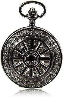 Lwieui Reloj de Bolsillo Reloj de Bolsillo mecánico Color de Pistola de Moda Movimiento mecánico Reloj de Bolsillo Reloj A...