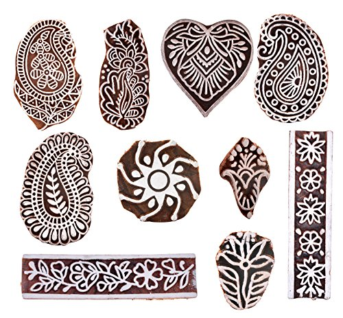 Hashcart Hand-Carved Wooden Baren | Motif Printing Block for Artistic Design On Saree Border | Wooden Printing Blocks