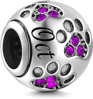 XOYOYZU Birthstone Charm for Pandora Charms Bracelet Dog Paw Jan-Dec Birthday Crystal Charms for Bracelet and Necklace