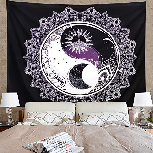 Amonercvita Sun and Moon Tapestry Black and White Tapestry Mandala Yin Yang Tapestry Tai Chi Wall Hanging Tapestry Psychedelic Wall Art Tapestry for Home (W59.1 × H51.2)
