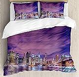 Modern Bedding Sets, New York City Skyline at Night with Skyscrapers Manhattan USA American...