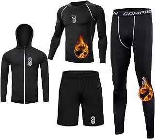 Fitness Plus Velvet Suit Men's Sports Running Clothes Quick-Drying Tights Training Suit Five-Piece Suit High Elasticity Sw...