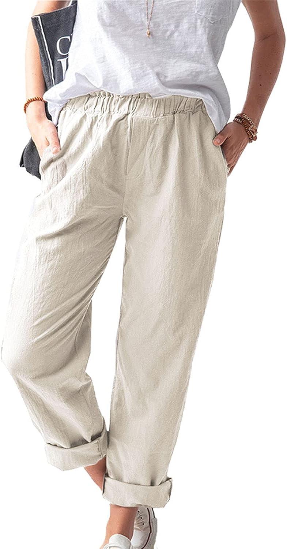 MAGIMODAC Women Linen Pants Casual Elastic Waist Lightweight Loose Straight Trousers