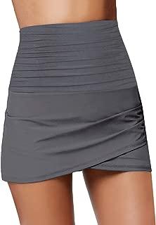 Luyeess Women's High Waisted Ruched Tulip Hem Swim Skirt Bikini Tankini Swimsuit Swimwear Bathing Suit Bottom with Briefs Grey, Size L(US 12-14)